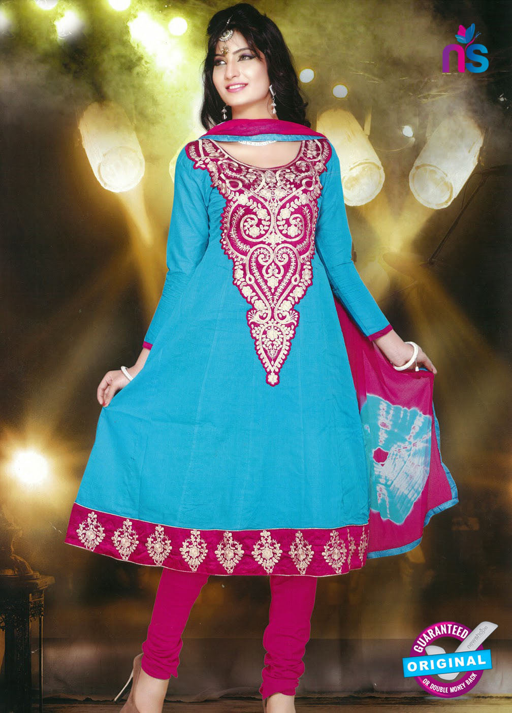 NS10250 Blue and Pink Anarkali Suit