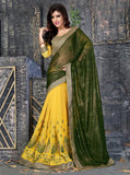 NS11852 Yellow & Green Color Georgette Designer Saree