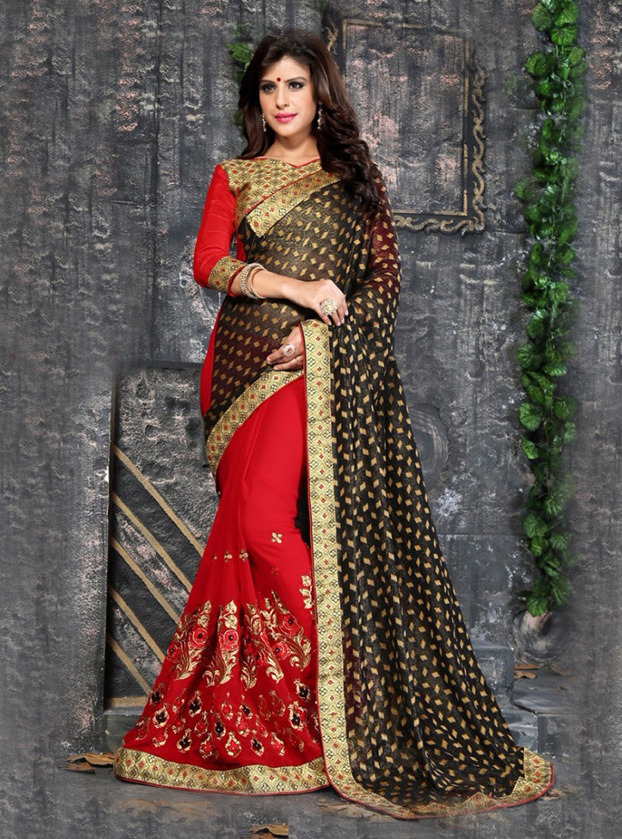 Varun 6012 Red & Black Color Georgette Designer Saree