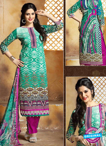 SC 13655 Sea Green and Purple Cambric Cotton Designer Fancy Ethnic Exclusive Salwar Straight