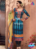 Heer 6014 Blue and Yellow Color Cotton Designer Straight Suit