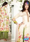 Ganga 6014-Beige and Green Cotton Designer Suit