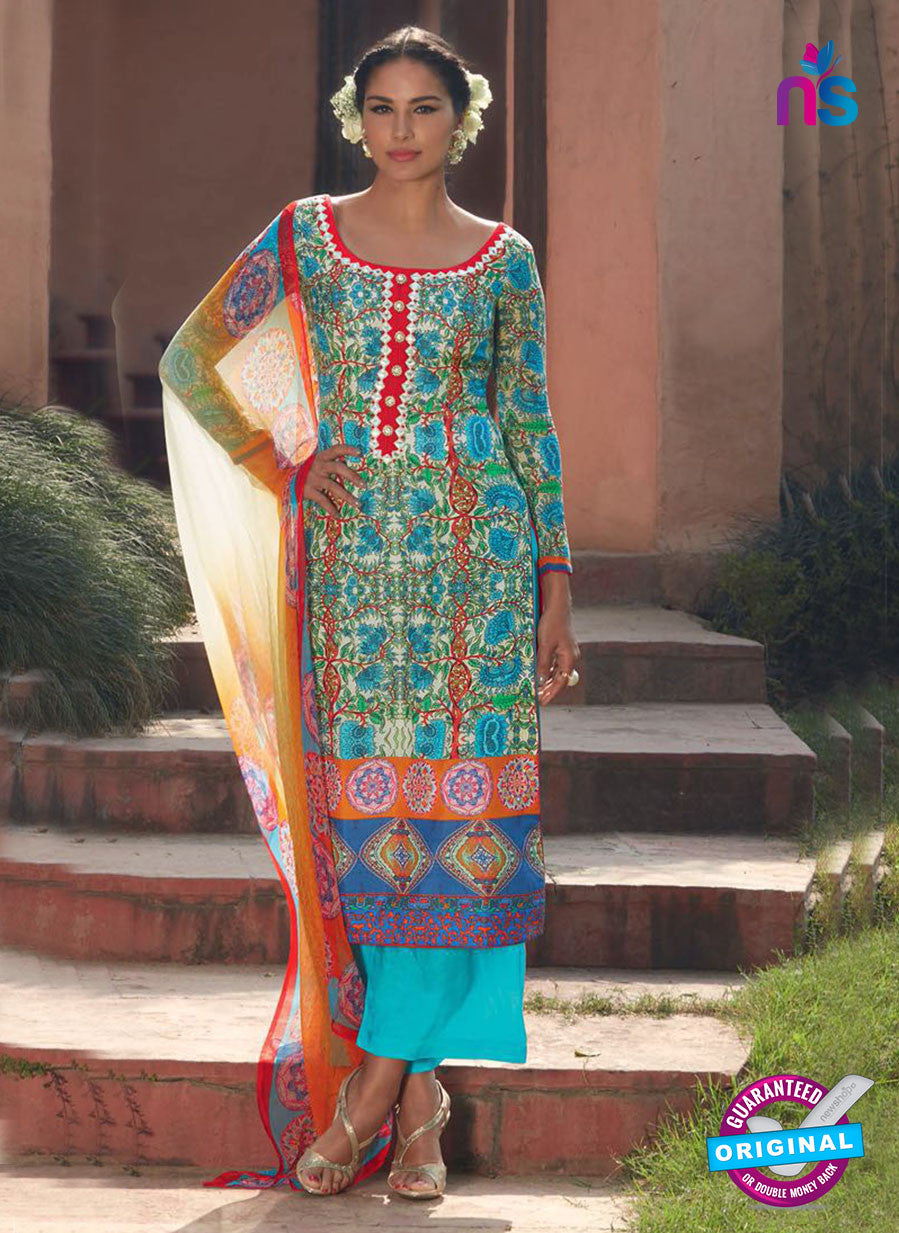 Heer 6015 Sky Blue and Yellow Color Cotton Designer Straight Suit