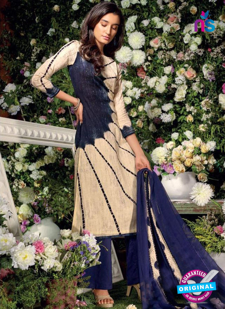 Ganga 6016 Beige and Blue Cotton Suit Online