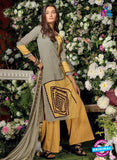 Ganga 6017 Grey and Yellow Cotton Suit Online