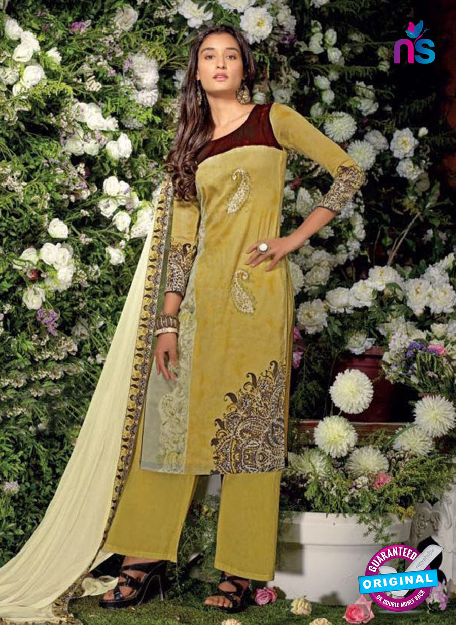 Ganga 6019 Yellow And Brown Cotton Suit