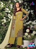 Ganga 6019 Yellow And Brown Cotton Suit Online
