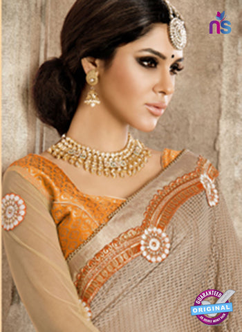 Ronak 6031 Beige and Orange Georgette Wedding Wear Saree online