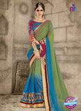 Ronak 6032 Green and Sky Blue Satin Wedding Wear Saree