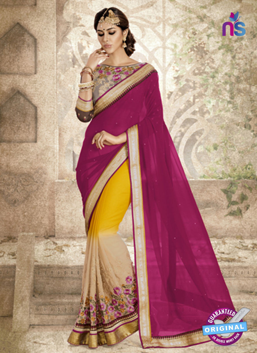 Ronak 6033 Beige and Yellow Georgette Wedding Wear Saree