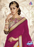 Ronak 6033 Beige and Yellow Georgette Wedding Wear Saree Online