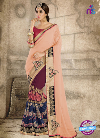Ronak 6034 Blue and Maroon Georgette Wedding Wear Saree
