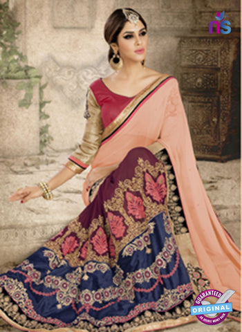 Ronak 6034 Blue and Maroon Georgette Wedding Wear Saree Online