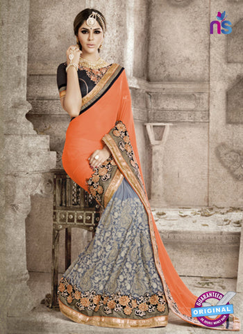 Ronak 6035 Grey Georgette Wedding Wear Saree