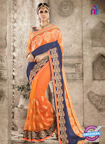 Ronak 6036 Orange Georgette Wedding Wear Saree