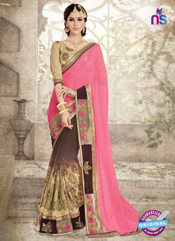 Ronak 6037 Brown Georgette Wedding Wear Saree