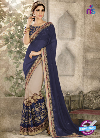 Ronak 6038 Blue Georgette Wedding Wear Saree