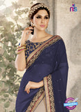 Ronak 6038 Blue Georgette Wedding Wear Saree Online