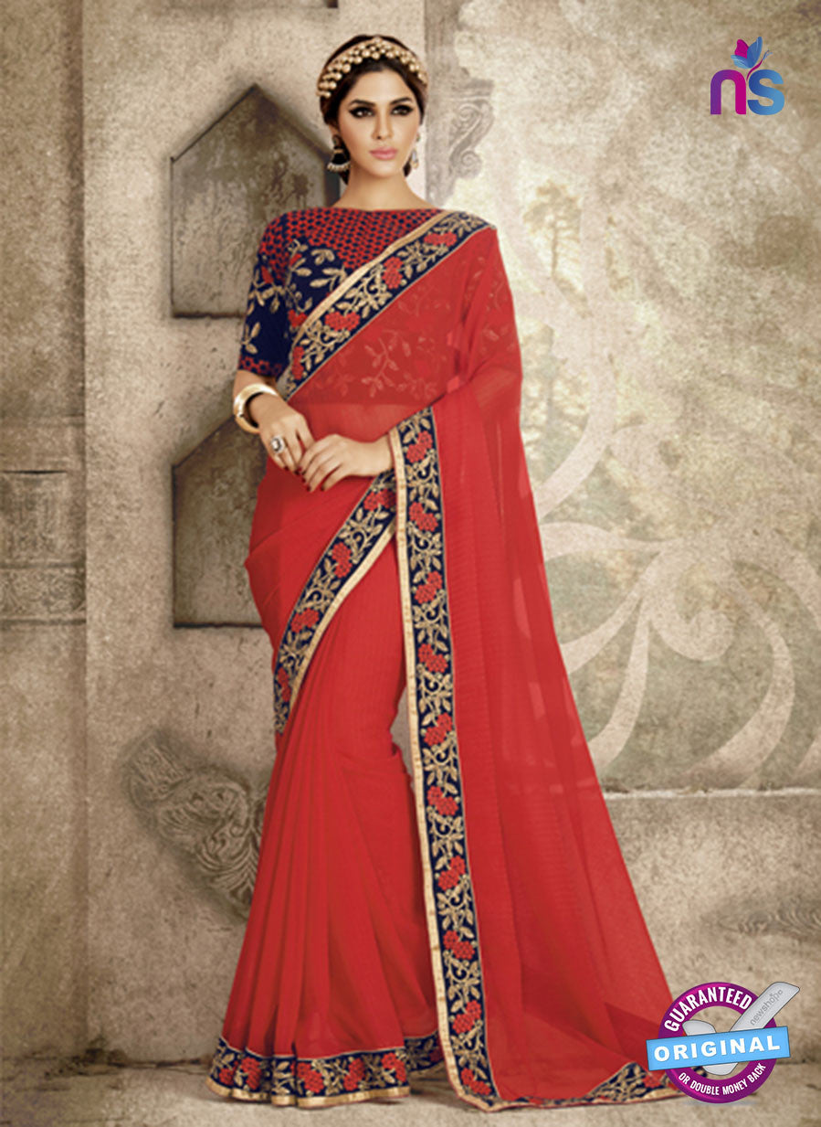 Ronak 6039 Red Chiffon Wedding Wear Saree