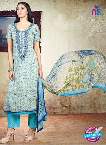 AZ 3614 Sky Blue Cotton Satin Pakistani Suit