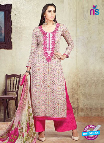 AZ 3615 Beige Cotton Satin Pakistani Suit
