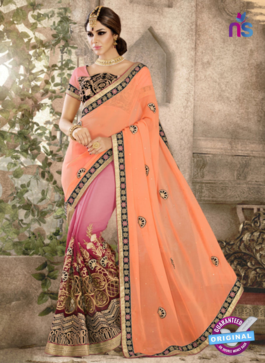 Ronak 6040 Pink Georgette Wedding Wear Saree