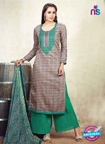 AZ 3617 Light Brown Cotton Satin Pakistani Suit