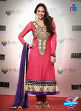 NS 12501 Pink and Purple Georgette Straight Suit
