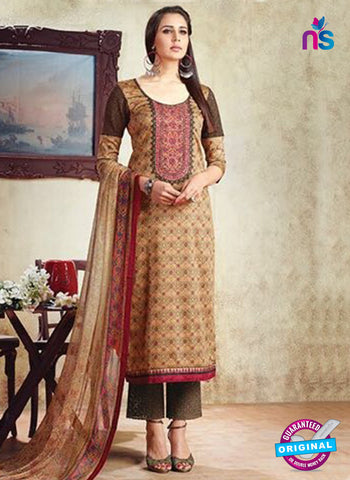 Karma 605 A Beige Cotton Satin Pakistani Suit