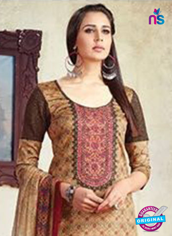 Karma 605 A Beige Cotton Satin Pakistani Suit Online