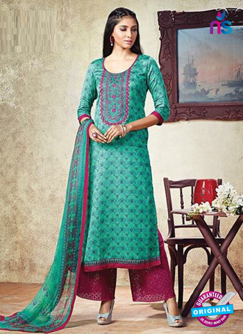 Karma 605 B Sea Green Cotton Satin Pakistani Suit