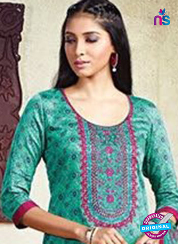 Karma 605 B Sea Green Cotton Satin Pakistani Suit Online