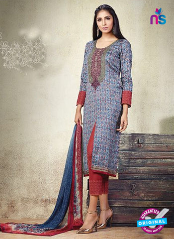 Karma 606 A Blue Cotton Satin Pakistani Suit