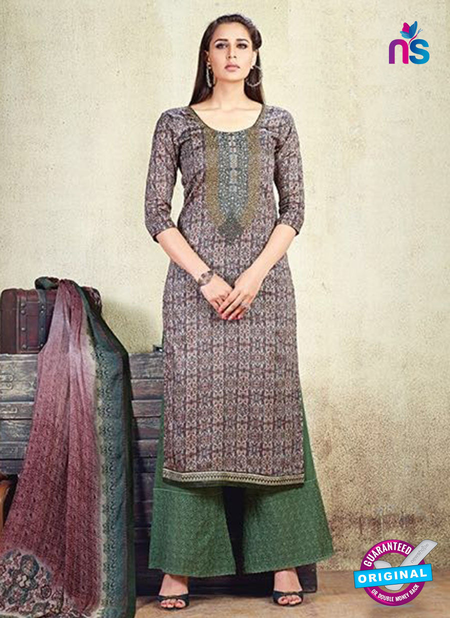 Karma 606 B Brown Cotton Satin Pakistani Suit