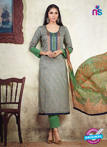Karma 607 A Green Cotton Satin Pakistani Suit