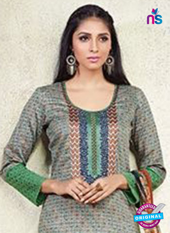 Karma 607 A Green Cotton Satin Pakistani Suit Online