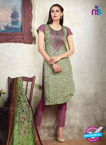 Karma 608 A Green Cotton Satin Pakistani Suit