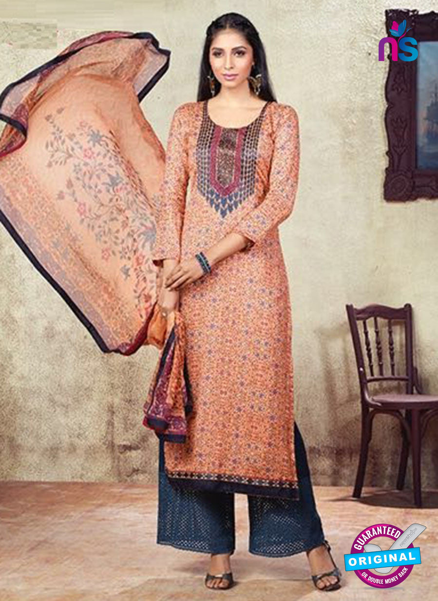 Karma 608 B Peach Cotton Satin Pakistani Suit
