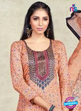 AZ 3625 Peach Cotton Satin Pakistani Suit