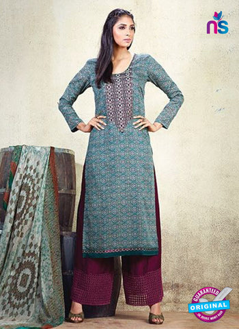 AZ 3627 Sea Green Cotton Satin Pakistani Suit