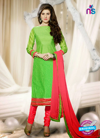 NS 11976 Light Green and Red Designer Pajami Suit