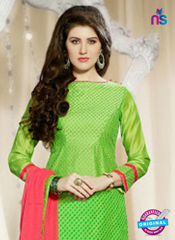 NS 11976 Light Green and Red Designer Pajami Suit Online