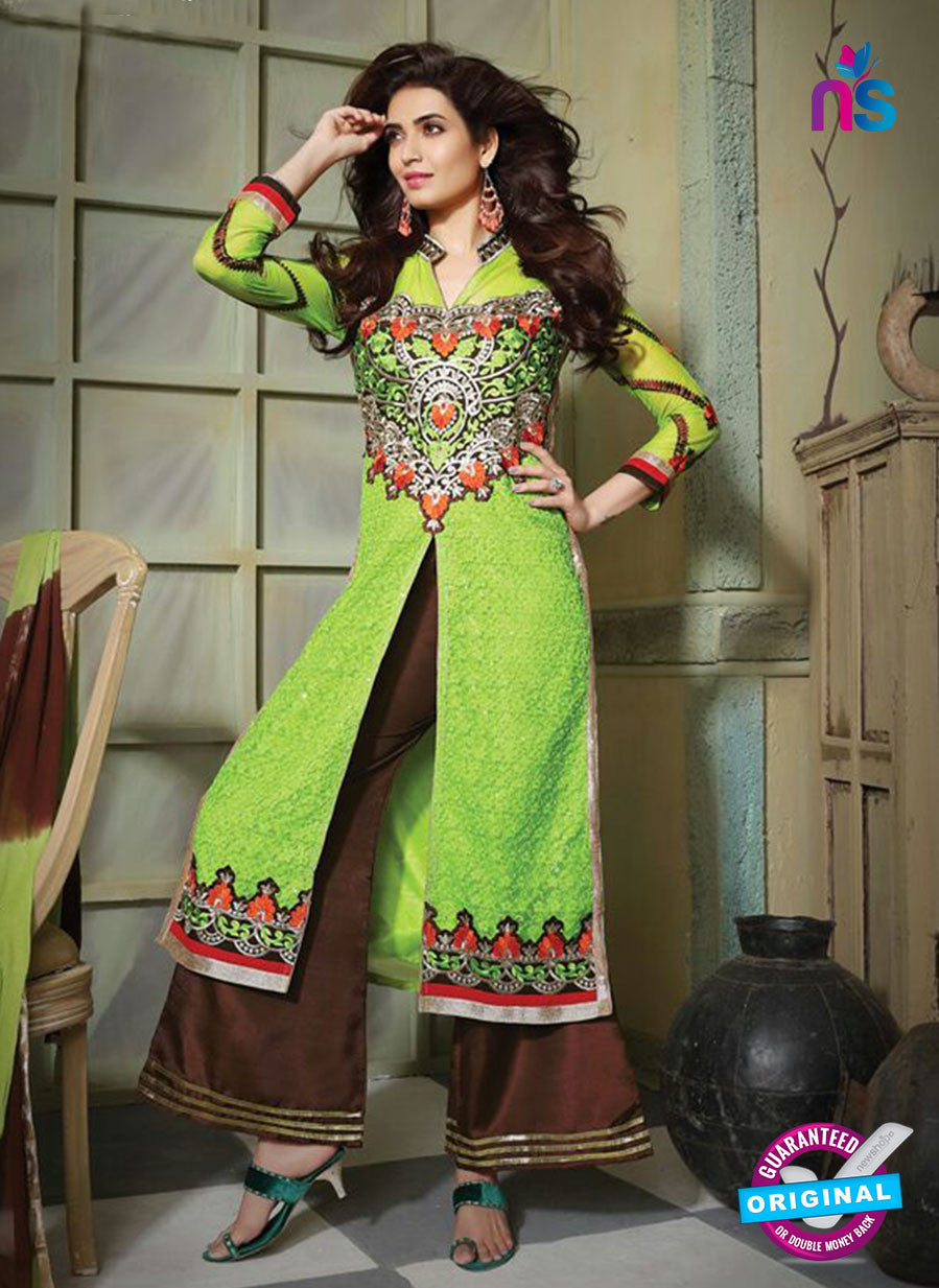 NS10795 Green Yellow and Bistre Brown Party Wear Pure Net Designer Straight Suit