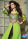 SC 13200 Green and Brown Party Wear Pure Nett Straight Suit Online