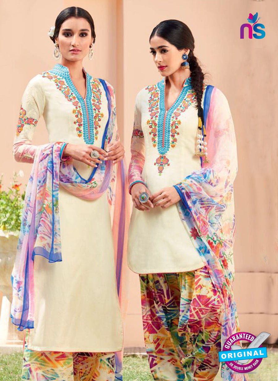 Heer 6102-Beige and Multicolor Color Cotton Designer Suit