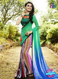 NS 12355 6102 Sea Green and Multicolor Floral Printed Georgette Saree