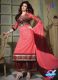SC 13199 Pink and Maroon Party Wear Pure Nett Straight Suit