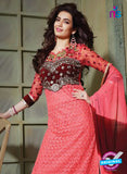 SC 13199 Pink and Maroon Party Wear Pure Net Straight Suit Online