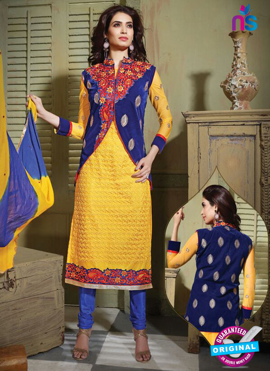 NS10797 Yellow and Royal Blue Party Wear Pure Net Designer Straight Suit