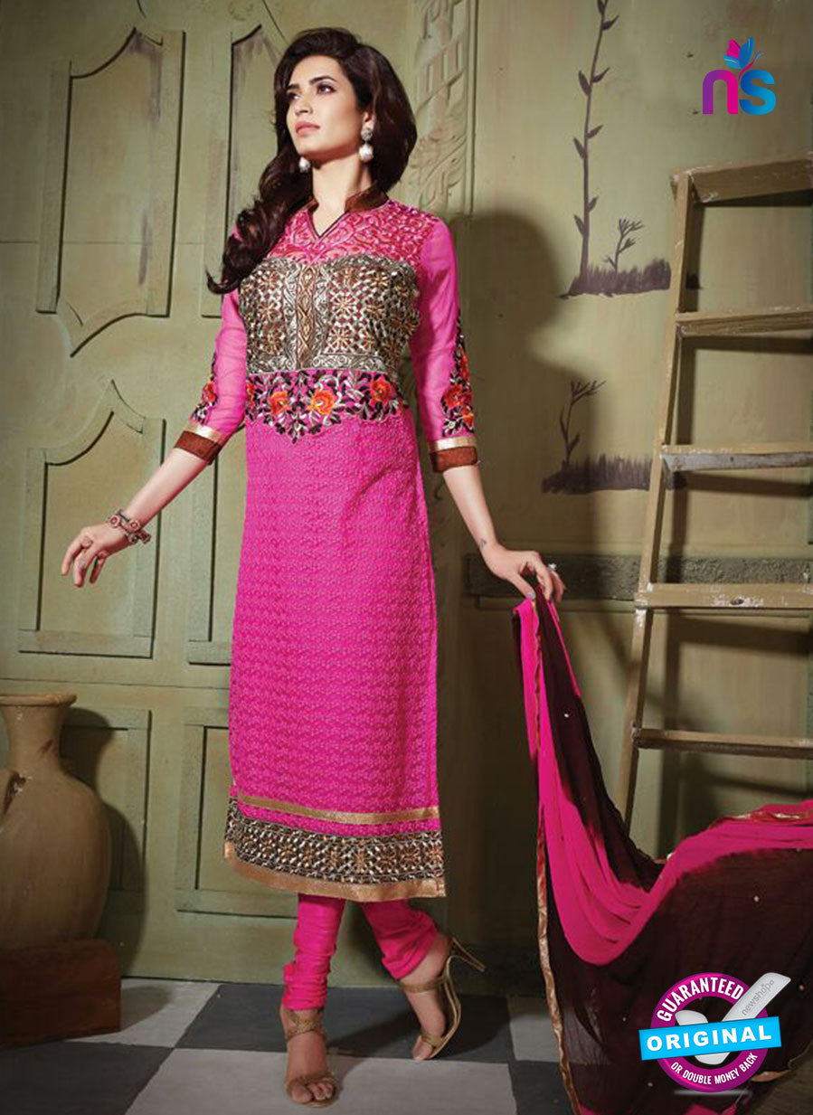 NS10798 Pink Party Wear Pure Net Designer Straight Suit